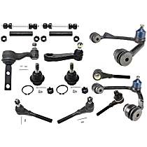 Control Arm - Front, Driver and Passenger Side, Upper, 4WD, with Idler Arm, Pitman Arm, Sway Bar Links, Tie Rod Adjusting Sleeves, Lower Ball Joints, and Inner and Outer Tie Rod Ends