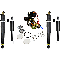 Air Spring - Rear, Driver and Passenger Side, with Air Suspension Compressor and Front Right and Left Shock Absorbers