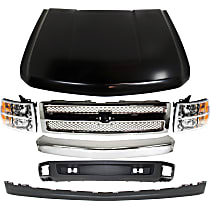 Hood - Primed, with Front Chrome Bumper, Front Valances, Chrome Shell with Chrome Insert Grille Assembly and Right and Left Headlights