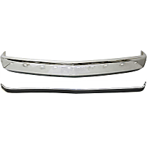 Bumper - Front, Chrome, with Impact Strip Holes, without Air Intake Holes and Bumper Guard Holes, with Bumper Trim