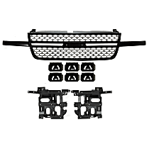 Headlight Bracket - Driver and Passenger Side, with Textured Black Shell Textured Black Insert Grille Assembly