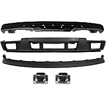 Bumper - Front, Powdercoated Black, with Bumper Brackets, Bumper Cover (with Fog Light Holes), Lower Valance and Fog Lights