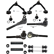 Control Arm - Front, Driver and Passenger Side, Upper, 4WD, with Sway Bar Links, Tie Rod Adjusting Sleeves, and Inner and Outer Tie Rod Ends