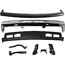Bumper - Front, Chrome, with Lower Valance, Bumper Filler, Center and Outer Braces