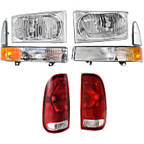 Tail Light - Driver and Passenger Side, Extended Cab (Super Cab)/Standard Cab (Regular Cab) Pickup, with Headlights (with Bulbs) and Corner Lights (without Bulb)