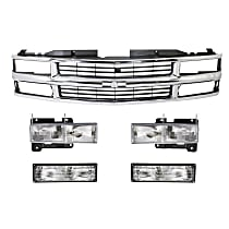 Grille Assembly - Chrome Shell with Painted Black Insert, with Right and Left Headlights and Right and Left Turn Signal Lights