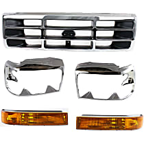 Replacement Turn Signal Light, Grille Assembly and Headlight Door Kit - Driver and Passenger Side, DOT/SAE Compliant, Direct Fit