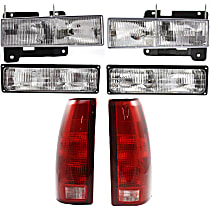 Replacement Headlight, Turn Signal Light, and Tail Light Kit - Driver and Passenger Side, DOT/SAE Compliant, Direct Fit