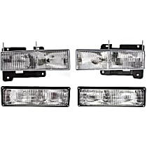 Replacement Headlight and Turn Signal Light Kit - Driver and Passenger Side, DOT/SAE Compliant