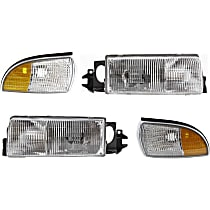 Replacement Side Marker and Headlight Kit - Front, Driver and Passenger Side, Direct Fit, DOT/SAE Compliant