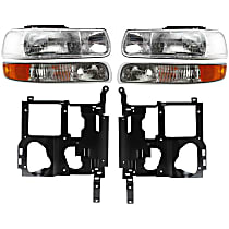 Replacement Parking Light, Headlight and Headlight Housing Kit - Driver and Passenger Side, Direct Fit, DOT/SAE Compliant