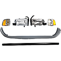 Replacement Bumper Cover, Corner Light and Headlight Kit