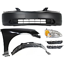 Bumper Cover - Front, Kit, Primed, For Coupe, Includes Right Fender (w/ Fender Liner), Right Headlight and Bumper Brackets