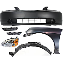 Replacement Headlight, Bumper Cover, Fender, Splash Shield and Bumper Bracket Kit