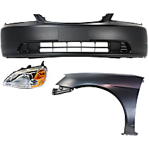 Bumper Cover - Front, Kit, Primed, For Coupe, Includes Left Fender and Left Headlight