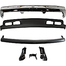 Bumper - Front, Chrome, with Lower Valance, Bumper Filler and Bumper Brackets