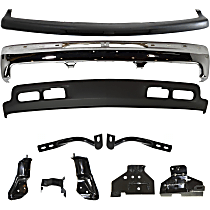 Bumper - Front, Chrome, with Lower Valance, Bumper Filler, Bumper Brackets and Outer Braces