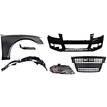 Grille Assembly - Primed Shell and Insert, with Front Bumper Cover, Right Fender, Right Fender Liner, Right Fender Support and Right Headlight