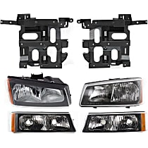 Headlight Bracket - Driver and Passenger Side, with Right and Left Headlights and Right and Left Turn Signal Lights