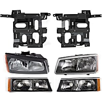 Headlight Bracket - Driver and Passenger Side, with Right and Left Headlights and Right and Left Turn Signal Lights
