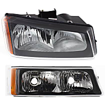 Headlight - Passenger Side, Kit, With Bulb(s), Fluted Reflector, With Right Turn Signal