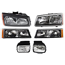 Headlights - Driver and Passenger Side, Kit, With Bulb(s), Fluted Reflector, With Fog Lights and Turn Signals