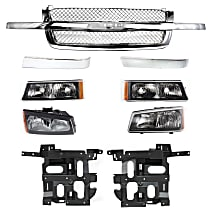 Headlight Bracket - Driver and Passenger Side, with Chrome Grille Assembly, Right and Left Grille Trim, Right and Left Headlights and Right and Left Turn Signal Lights