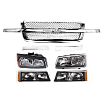 Grille Assembly - Chrome Shell and Insert, Mesh Insert, with Right and Left Grille Trims, Right and Left Headlights and Right and Left Turn Signal Lights