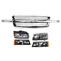 Grille Assembly - Chrome Shell and Insert, Mesh Insert, with Right and Left Headlights and Right and Left Turn Signal Lights