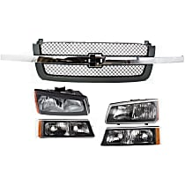 Headlights - Driver and Passenger Side, Kit, With Bulb(s), Fluted Reflector, With Grille (Gray) and Turn Signals