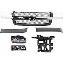Replacement Headlight Bracket, Grille Assembly, Grille Trim, Headlight, Turn Signal Light Kit