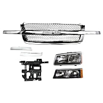 Grille Assembly - Chrome Shell and Insert, Mesh Insert, with Left Headlight, Left Headlight Bracket, Left Turn Signal Light and Right and Left Grille Trims