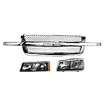 Grille Assembly - Chrome Shell and Insert, Mesh Insert, with Left Headlight and Left Turn Signal Light