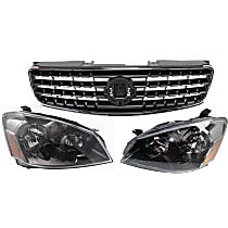 Grille Assembly - Chrome Shell with Painted Dark Gray Insert, with Right and Left Headlights