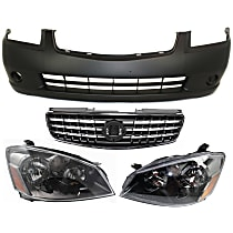 Grille Assembly - Chrome Shell with Painted Dark Gray Insert, with Front Bumper Cover and Right and Left Headlights