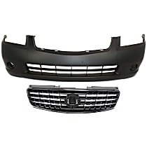 Grille Assembly - Chrome Shell with Painted Dark Gray Insert, with Front Bumper Cover