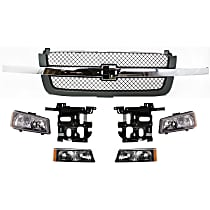Headlight Bracket - Driver and Passenger Side, with Textured Gray Grille Assembly, Right and Left Headlights and Right and Left Turn Signal Lights