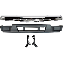 Bumper - Front, Chrome, with Bumper Brackets and Lower Bumper Cover (without Fog Light Holes)