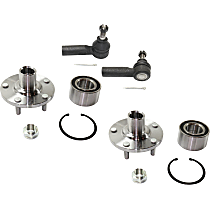 Front, Driver and Passenger Side Wheel Hub and Bearing Assembly, With Outer Tie Rod End