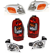 Replacement Headlight, Tail Light and Corner Light Kit - Front and Rear, Driver and Passenger Side, DOT/SAE Compliant