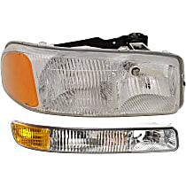 Headlight - Passenger Side, Kit, All Cab Types, 1999-2007 Body Style, For Denali, Hybrid, SL, SLE, SLT, WT, With Bulb(s), With Left Parking Light