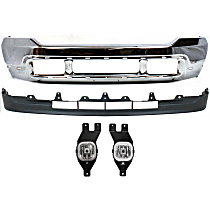 Bumper - Front, Chrome, with Lower Valance and Fog Lights, without Upper Valance Panel