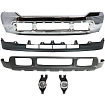 Bumper - Front, Chrome, with Fog Lights and Center and Lower Valances, without Upper Valance Panel