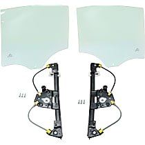 Window Regulator And Door Glass - Rear, Driver And Passenger Side, Set of 4, Power, 4-Door, Sedan, w/o Motor, w/o Clip