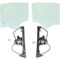 Replacement Window Regulator And Door Glass - Rear, Driver And Passenger Side, Set of 4, Power, 4-Door, Sedan, w/o Motor, w/o Clip