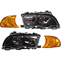 Headlights - Driver and Passenger Side, Kit, For Coupe or Convertible, With Bulb(s), With Amber Corner Lights
