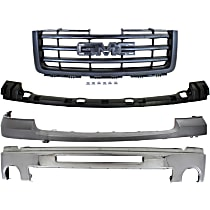 Bumper - Front, Chrome, with Towing Package, Upper Bumper Cover, Bumper Bracket Cover and Grille Assembly