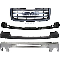 Bumper - Front, Chrome, with Towing Package, Primed Bumper Pad, Bumper Bracket Cover, Grille Assembly