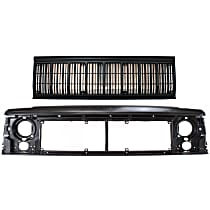 Grille Assembly - Painted Black Shell and Insert, with Header Panel