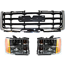 Grille Assembly - Chrome Shell with Painted Black Insert, Except Denali Model, with Right and Left Headlights